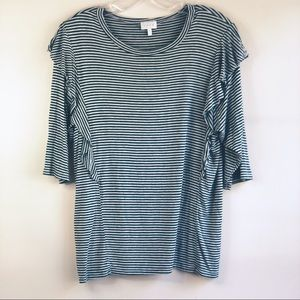 LUXE Women's top Size Small ruffles stripped